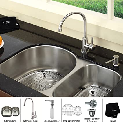 "Kraus KBU21-KPF2160-SD20 30"" Undermount Double Bowl Stainless Steel Kitchen Sink with Kitchen Faucet and Soap Dispenser"