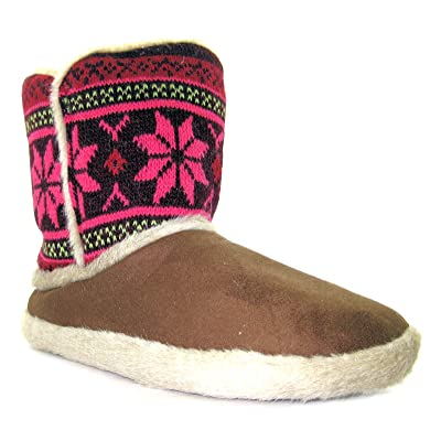 Coolers Womens 08cf1014 Brown Snowflake Warm Knitted Style Boot Style Slippers