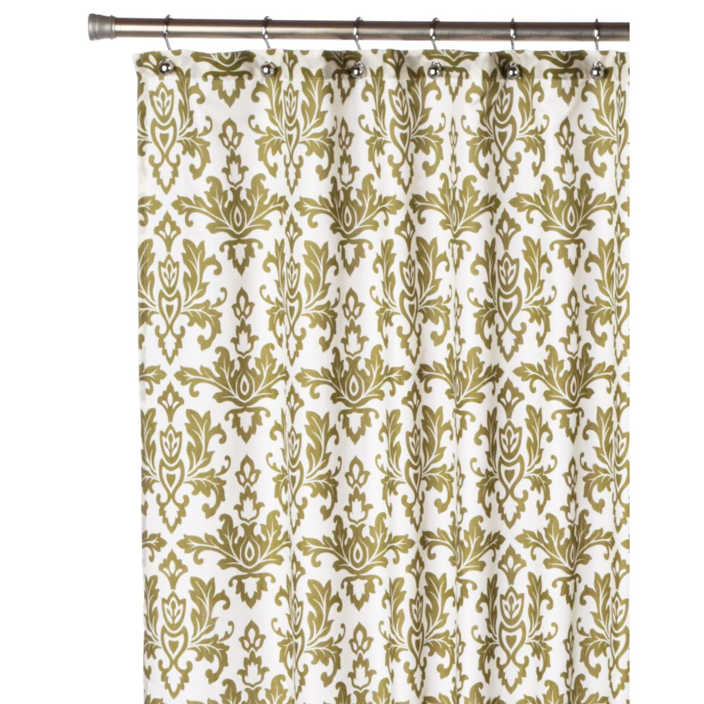 Sage / Matt Gold Damask Shower Curtain
