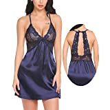 Pintimi Women Lingerie V Neck Sleepwear Lace Patchwork Chemise Satin Babydoll Full Slip Nightgown Navy Blue L (Color: Style-4-navy Blue, Tamaño: Large)
