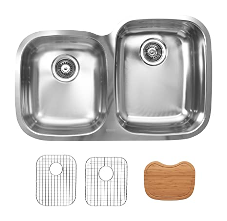 Ukinox D376.60.40.10R.GC Modern Undermount Double Bowl Stainless Steel Kitchen Sink with Bottom Grids & Cutting Boards