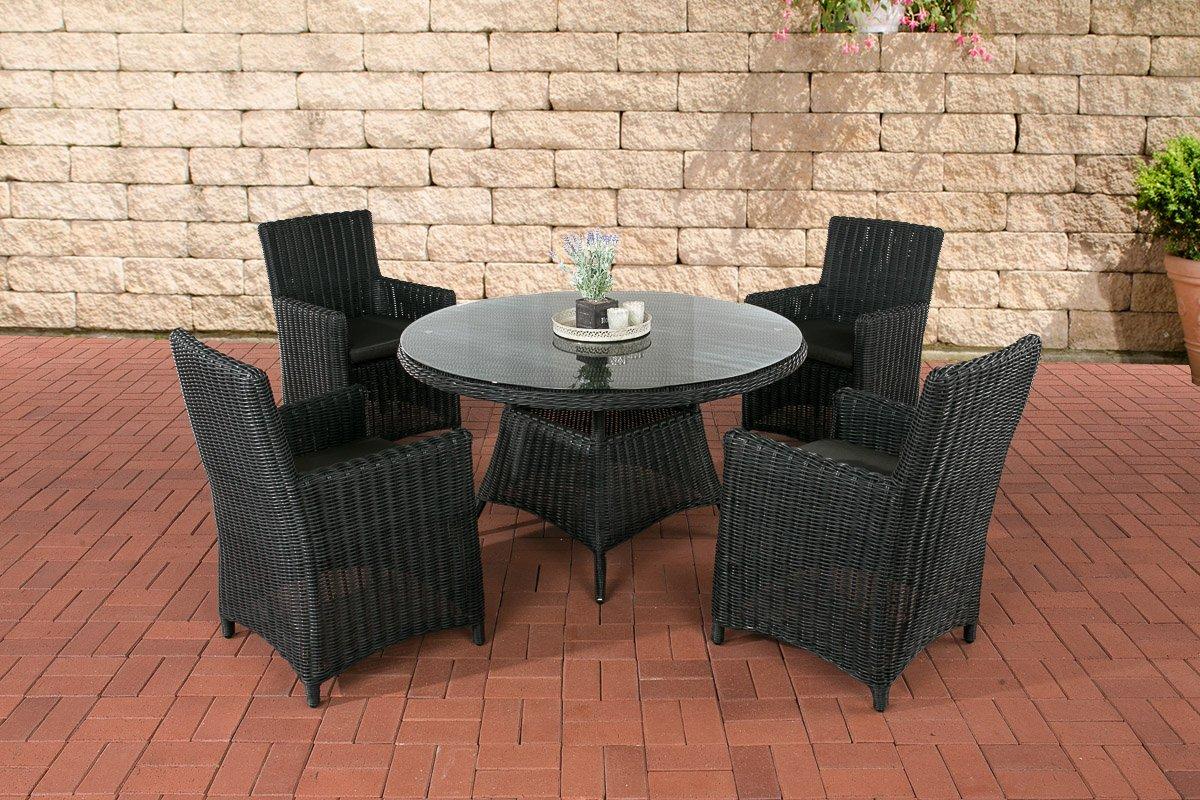 CLP Polyrattan Sitzgruppe PINELLA schwarz (4 Stühle + Tisch 130×130 cm) INKL. Sitzkissen, Premiumqualität: 5mm Rundrattan schwarz, Bezugfarbe anthrazit jetzt bestellen