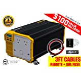 KRIËGER 3000 Watt 12V Power Inverter, Dual 110V AC Outlets Car Inverter, Automotive Back Up Power Supply For Refrigerators, Microwaves,Chainsaws,Vacuums, Power Tools. MET Approved To UL and CSA (Tamaño: 3000W Inverter)