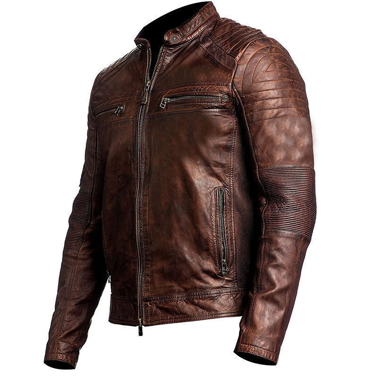 Men's Biker Vintage Motorcycle Distressed Brown Cafe Racer Leather Jacket 1