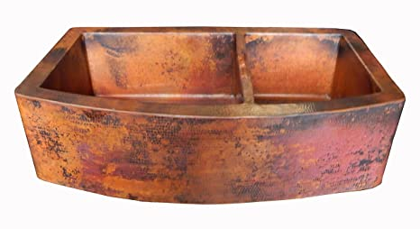 Rounded Apron Front Farmhouse Kitchen Double Bowl Mexican Copper Sink 60/40