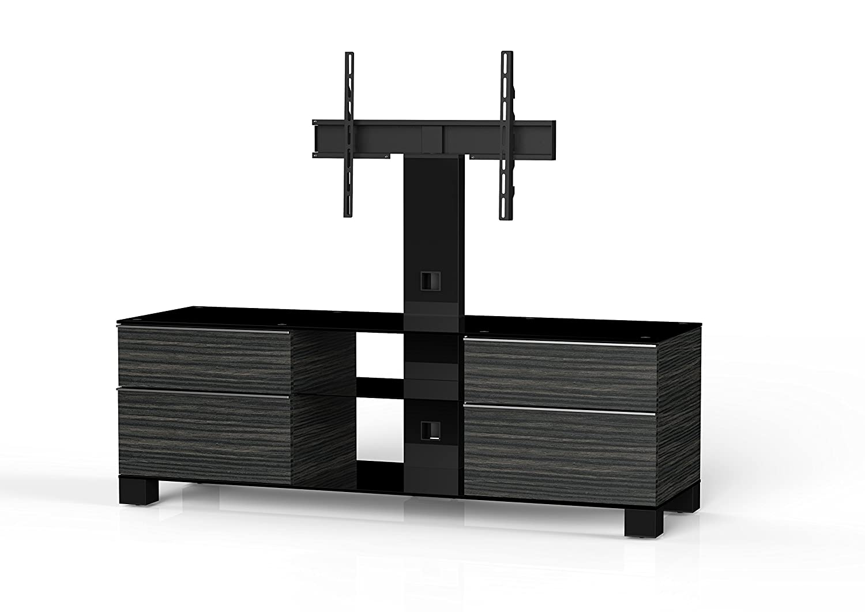 Sonorous MD 8340-B-HBLK-AMZ Fernseher-Möbel mit Schwarzglas (Aluminium Hochglanz, Korpus Holzdekor) schwarz