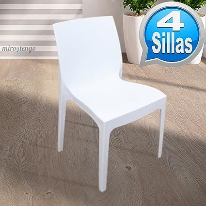 Pack 4 sillas para terraza o jardín color blanco polipropilieno mate, apilables, muy resistentes