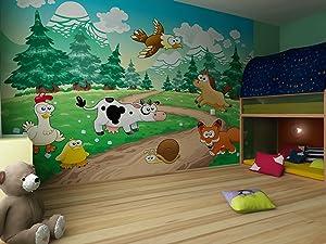 Fototapete Lustige comic Farm und Waldtiere  Größe 360 x 270 cm, vierteilig   Kritiken und weitere Informationen