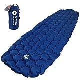 ECOTEK Outdoors Hybern8 Ultralight Inflatable Sleeping Pad Hiking Backpacking Camping - Contoured FlexCell Design - Perfect Sleeping Bags Hammocks (Ocean Blue) (Color: Ocean Blue)