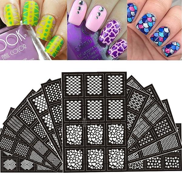 Ejiubas 144 Pieces 24 Different Designs Nail Vinyls Nail Stencil Sheets Easy Nail Art Nail Guides Nail Stickers Set 12 Sheets (Color: 12 Sheets Nail vinyls)