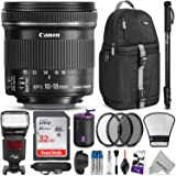 Canon EF-S 10-18mm f/4.5-5.6 IS STM Lens w/Complete Photo and Travel Bundle - Includes: Altura Photo Flash, Backpack, UV-CPL-ND4, Monopod, SD Card, Lens Hood, Diffuser, Pouch, Strap, Cleaning Set