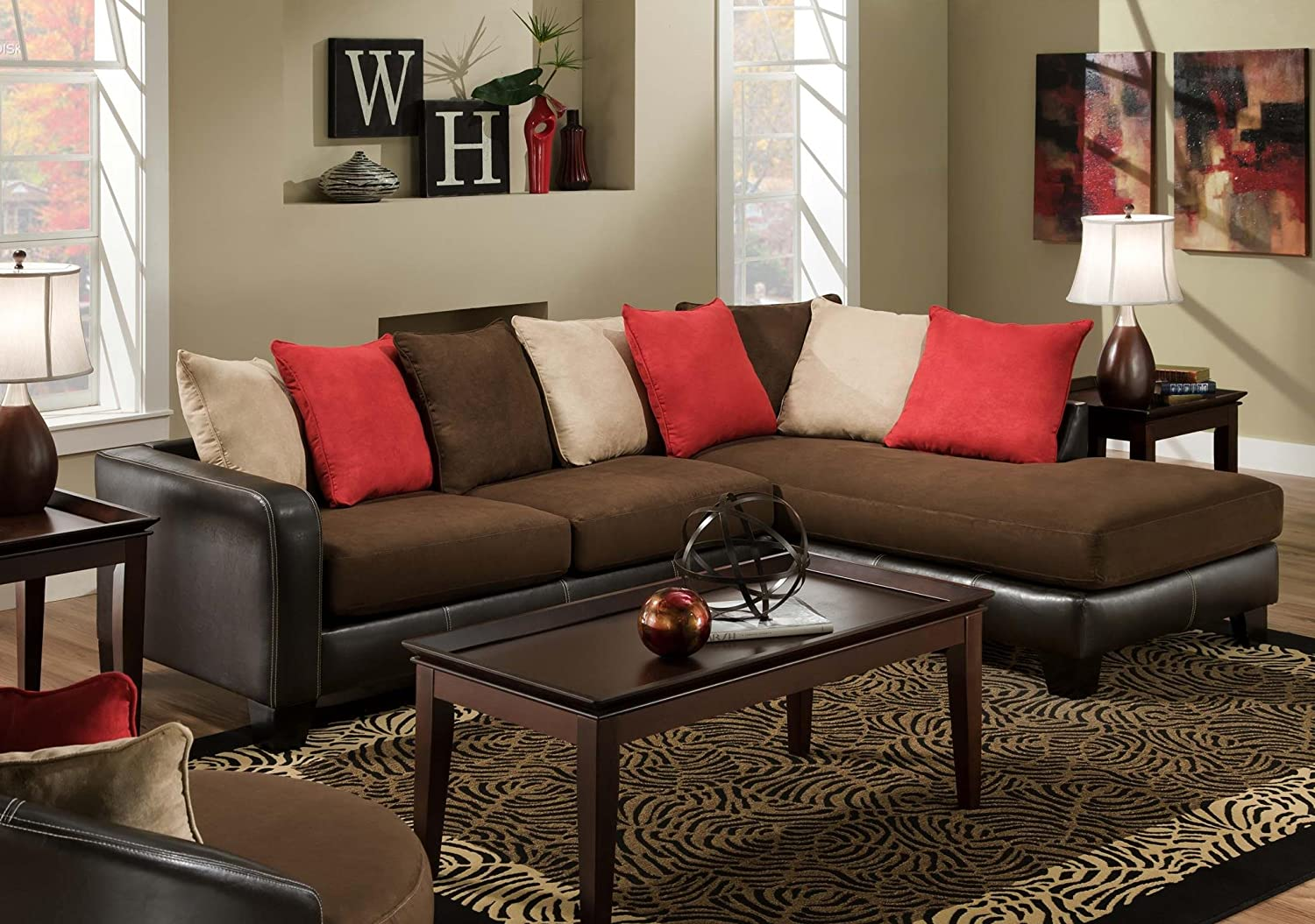 Chelsea Home Furniture Logan 2-Piece Sectional - Sienna Red Rock/Sienna Buff/Sienna Chocolate/San Marino Mocha