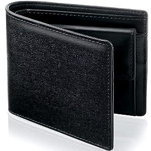 AGENNDA [Amazon限定ブランド] 財布 メンズ 二つ折り財布 イタリアンサフィアーノレザー スキミング防止 小銭入れ付き AGWL02
