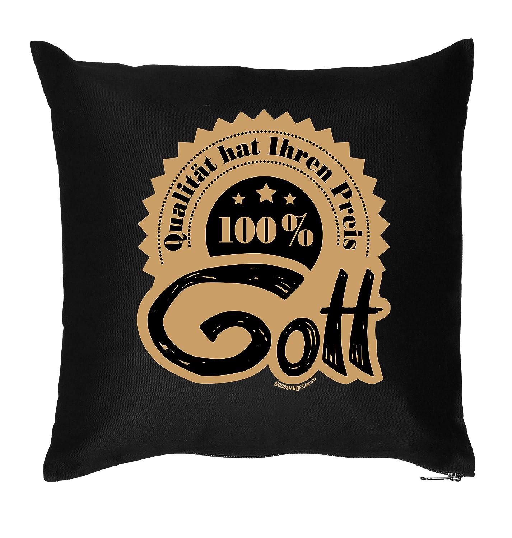 Lustiges Geschenk Motiv Kissen : Gott / 100% - Kissen mit Füllung
