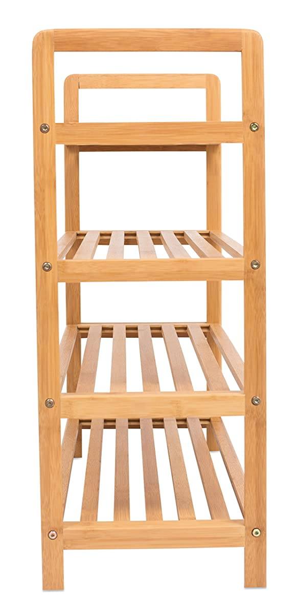 BIRDROCK HOME Free Standing Bamboo Shoe Rack | 4 Tier | Wood | Closets and Entryway | Organizer | Fits 12 Pairs of Shoes