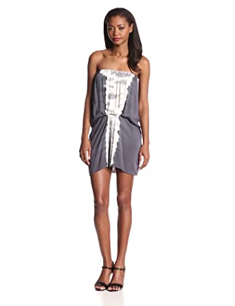 Young Fabulous & Broke Women's Gautier Strapless Mini Bengal Stripe Dress, Charcoal/Lavender, Medium