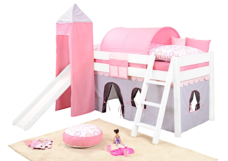 SAM® Spielbett für Kinder Girl II weiß aus massiv Holz Variante Basisbett ohne Erweiterung (mögliche Erweiterungen Sicherheitsrollrost / Vorhang / Rutsche / Turm / Tunnel) mit Schrägleiter Leiter schräg Lieferung erfolgt zerlegt mit einem Paketdienst