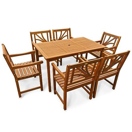 indoba® IND-70061-LOSE7ST6 - Serie Lotus - Gartenmöbel Set 7-teilig aus Holz FSC zertifiziert - 6 Gartenstuhle + rechteckiger Gartentisch mit Schirmöffnung