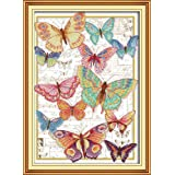Full Range of Embroidery Starter Kits Stamped Cross Stitch Kits Beginners for DIY Embroidery with 40 Pattern Designs - Butterflies (Color: Butterflies)