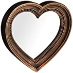 "Angel's Treasure 13"" x 12"" Heart Shaped Wall Mounted Mirror, Vintage Antique Bronze Style"