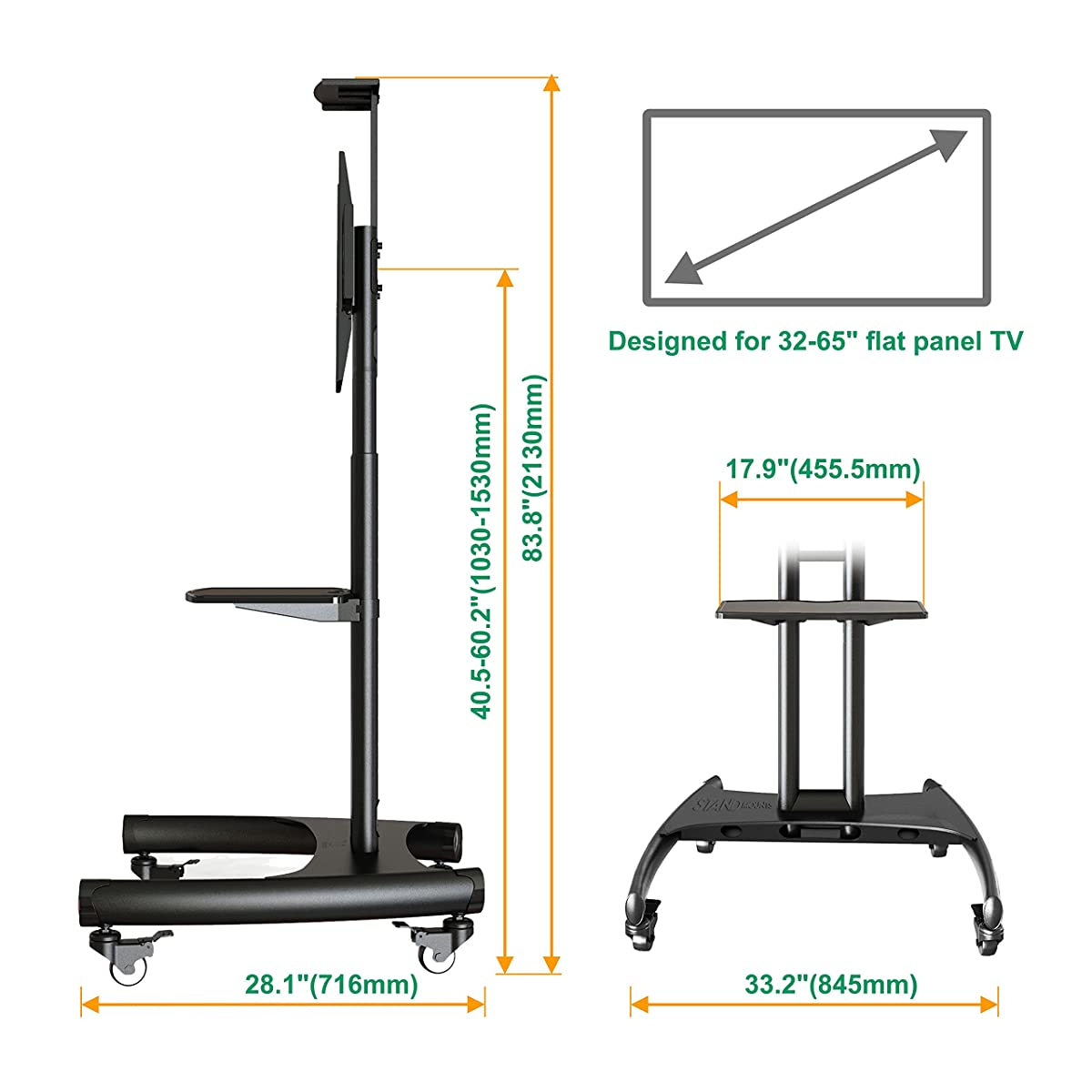North Bayou Universal Mobile TV Cart TV Stand with Mount for LED LCD Plasma Flat Panel Screens and Displays 32 to 65 inch up to 100 lbs AVA1500-60-1P Black with 1 middle AV Shelf and 1 top Shelf