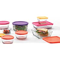 Anchor Hocking 16-Piece Embossed Storage Set with Multicolored Lids