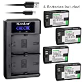 Kastar USB LCD Dual Charger and 4 Pack Battery for Canon LP-E6 LP-E6N, LC-E6 LC-E6E, Blackmagic Design Pocket Cinema Camera 4K, Marshall On-Camera HDMI Monitor, IKAN On-Camera HDMI Monitor (Tamaño: 4 Batteries + 1 Charger)