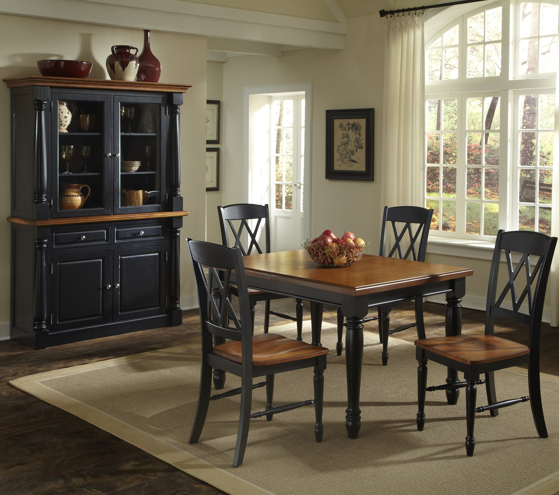 Home Styles 5008 308 Monarch Rectangular Dining Table And 4 Double X Back  Chair