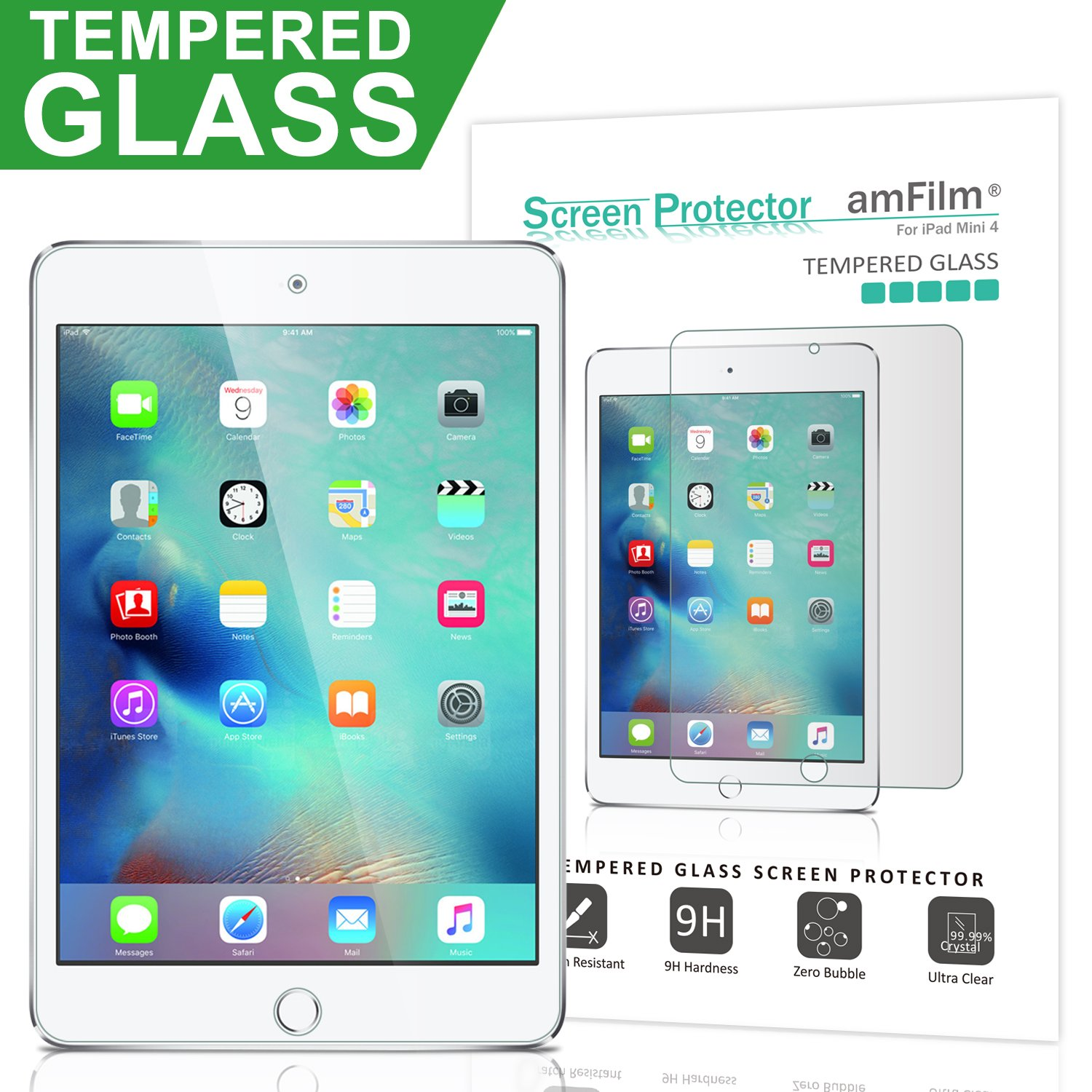 amFilm iPad Mini 4 Tempered Glass Screen Protector 0.33mm 2.5D Rounded Edge for Apple iPad Mini 4 2015 (1-Pack)