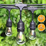 2-Pack 48Foot Heavy Duty Outdoor Patio String lights, Edison Vintage Dimmable 11S14 Bulbs w/ Hanging Sockets, Commercial Grade Weatherproof Market Cafe Lights for Bistro Backyard Pergola Party, Blk (Color: 48ft String Light With S14, Tamaño: Incandescent Bulb)