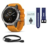 WhoIsCamera Garmin Fenix 5 Plus Sapphire Titanium w/Solar Flare Orange Band & Dark Blue Band Starter Bundle (Color: Titanium & Orange, Tamaño: Starter Kit/ Blue Band)
