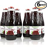 100% Pomegranate Juice - 6 Pack,33.8Fl Oz - USDA Organic Certified - Glass Bottle - No Sugar Added - No Preservatives - Squeezed From Fresh Pomegranates (Tamaño: Pack of 6)