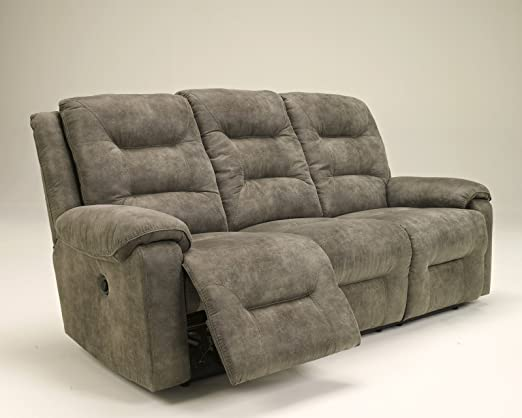 Ashley Rotation Polyester Power Reclining Sofa in Smoke