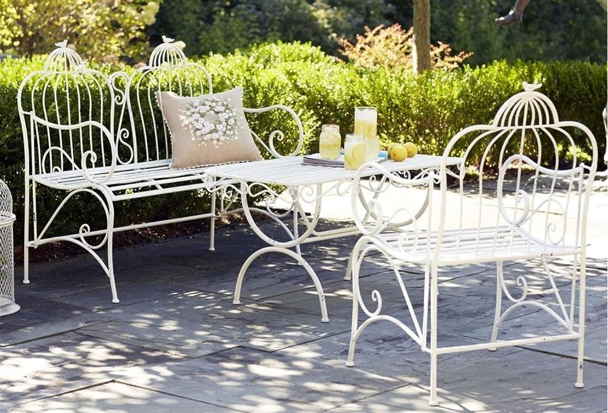 """Melrose 44"""" Detailed Outdoor White Bird Cage Backing Garden Park Bench"""