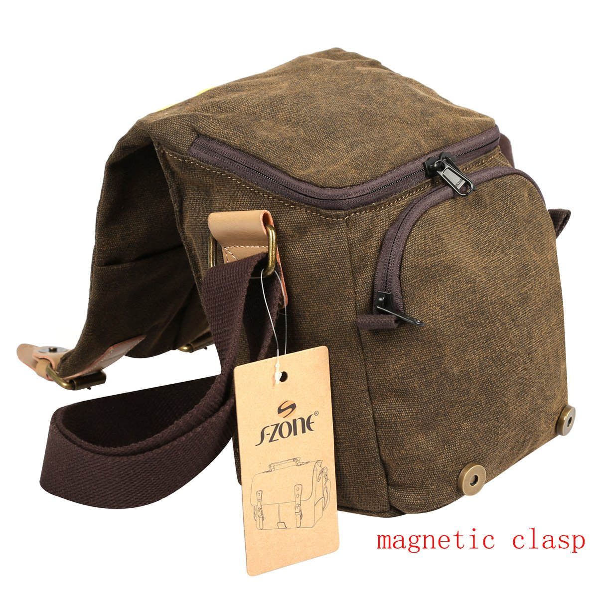 S-ZONE Vintage Waterproof Canvas Leather Trim DSLR SLR Shockproof Camera Shoulder Messenger Bag 3