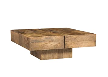 Woodkings® Couchtisch Amberley 80x80cm, Holz Mango natural rustic, Echtholz modern, Design, Massivholz exklusiv, Lounge Coffee Table gunstig