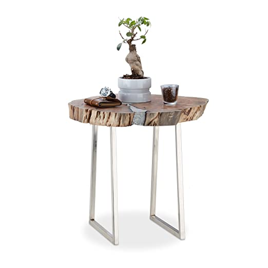 Relaxdays 10021132 Tavolino con Tronco d'Albero D'Acacia, Legno, Argento, 60 x 60 x 56 cm