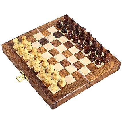 """ENSEMBLE DE 18 - Handcrafted en bois pliant Chess Magnetic ensemble - Bois Jeux de Voyage - 7 """"x 3,5"""" - Grands cadeaux pour enfants et adultes"""