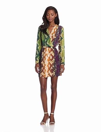 Charlie Jade Women's Silk Aya Print Dress, Brown/Moss, Small