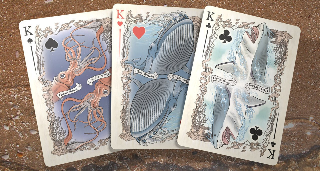 Colorized Sea Creature Themed Bicycle Playing Card Deck, Limited Edition 3