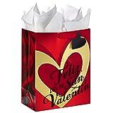 Hallmark VIDA Large Valentine's Day Gift Bag with Tissue Paper (Happy Valentine's Day Gold Heart)
