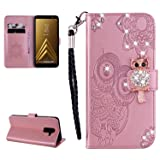 Glitter Diamond Wallet Case for Samsung Galaxy A6 Plus 2018,Gostyle Embossed Owl Flower Leather Flip Card Holder Case,3D Bling Rhinestone Magnetic Closure with Hand Strap Stand Cover-Rose Gold (Color: Rose Gold, Tamaño: Samsung Galaxy A6 Plus 2018)
