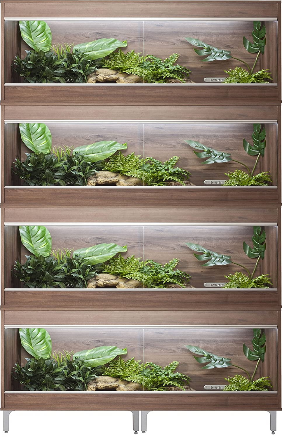 Vivexotic Repti-Home 4-Stack Vivariums - Large Walnut with Feet 115cm