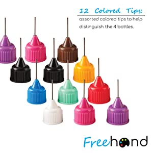 Precision Tip Applicator Bottles - 4 Bottles and 12 Tips - DIY Quilling, Glue Applicator, Oiler Bottle, and Alcohol Ink to Use on Yupo Paper (Color: Clear, Tamaño: 1 ounce)