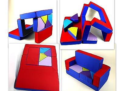 Darabike - Divano-puzzle, ideale per la cameretta dei bambini, da scomporre e ricomporre a piacimento come un puzzle in varianti differenti, colore: blu/rosso
