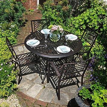 Ensemble meubles de de jardin table ronde lily de - Ensemble table ronde 4 chaises ...