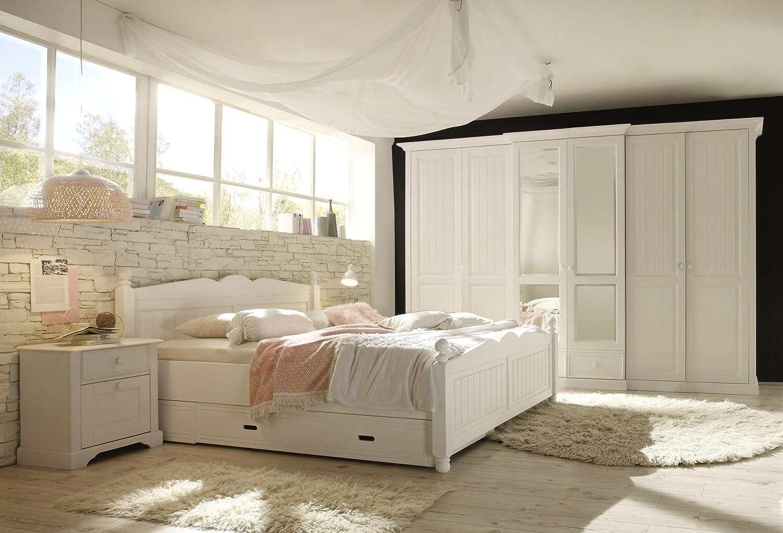 Firstloft 501-0600 Schlafzimmerset 'Cinderella Premium' bestehend aus 6-türigem Kleiderschrank 102-4600, Bett 180 x 200 401-1800 und 2 x Nachtkommoden 109-2500, Kiefer, teilmassiv, weiß bestellen
