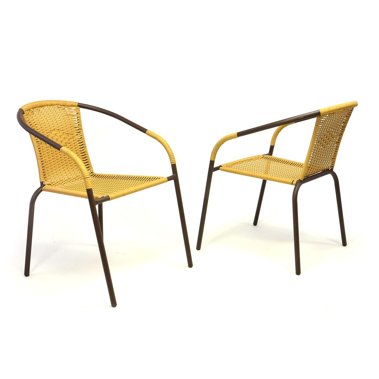 2er Set Bistrostuhl Stapelstuhl Balkonstuhl Poly Rattan Gartenstuhl Stuhl beige günstig online kaufen