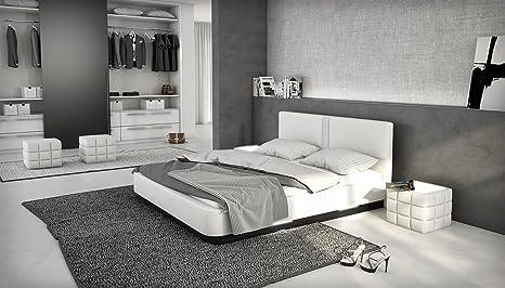 Designerbett LED Bett Polsterbett Kunstlederbett 180 x 200 cm weiß modernes Design