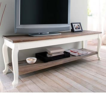 "Mesa de TV "" Country"" de madera MDF, blanco/marrón"